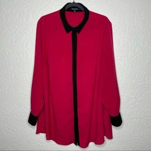 Ellen Tracy Pink Button Down Blouse Size 2X